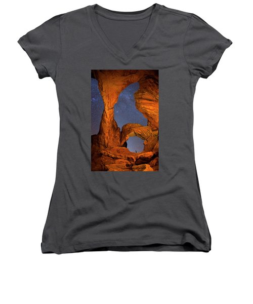 Double Arch At Night Women's V-Neck