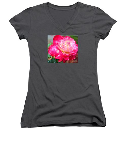 Women's V-Neck T-Shirt (Junior Cut) featuring the photograph Double Delight by Patricia Griffin Brett