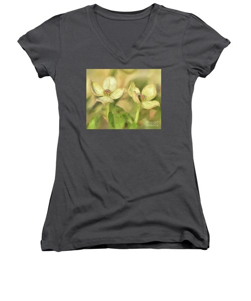 Women's V-Neck T-Shirt (Junior Cut) featuring the digital art Double Dogwood Blossoms In Evening Light by Lois Bryan