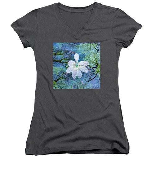 Close Encounters-1 Women's V-Neck T-Shirt (Junior Cut)