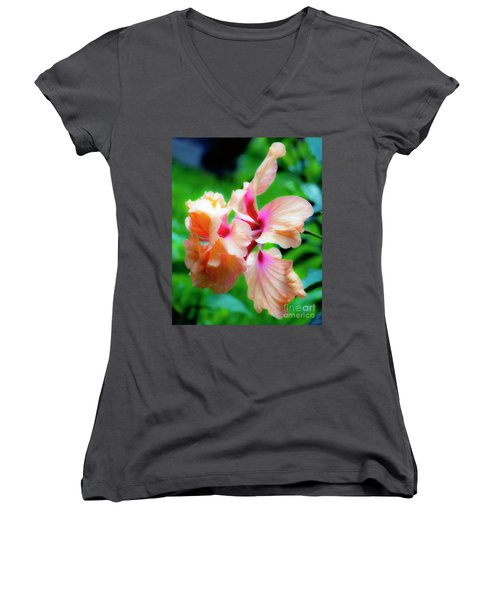 Double Peach Hibiscus Two Women's V-Neck (Athletic Fit)