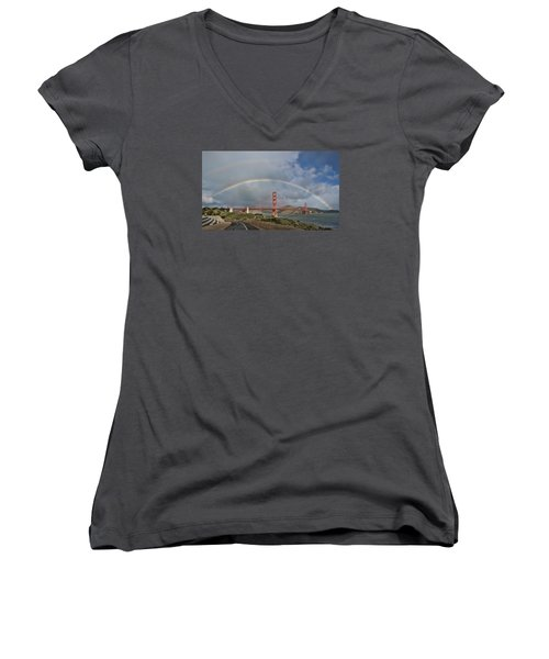 Women's V-Neck T-Shirt featuring the photograph Double Rainbow Golden Gate Bridge by Steve Siri