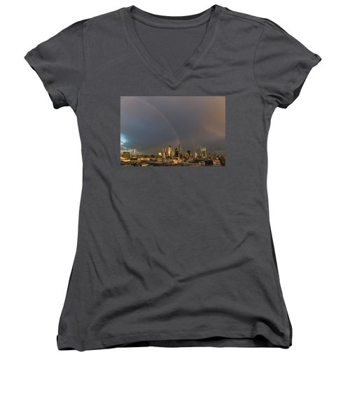 Double Rainbow Over The City Of London Women's V-Neck
