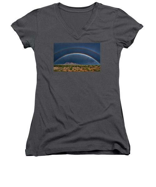 Women's V-Neck T-Shirt featuring the photograph Double Rainbow  by Saija Lehtonen