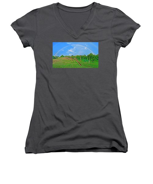 Double Rainbow Vineyard, Smith Mountain Lake Women's V-Neck (Athletic Fit)