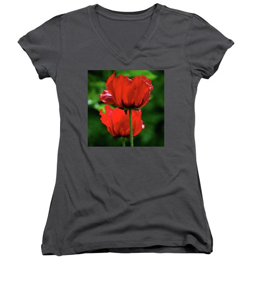 Double Red Poppies Women's V-Neck