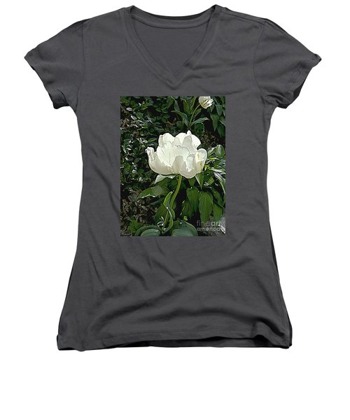 Women's V-Neck T-Shirt (Junior Cut) featuring the photograph Double Tulip In White by Nancy Kane Chapman