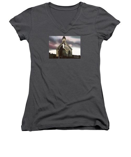 Women's V-Neck T-Shirt (Junior Cut) featuring the painting Doubt Or Faith by Dave Luebbert