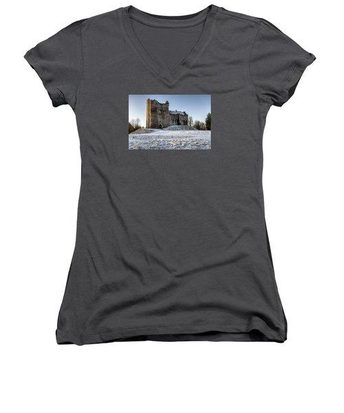 Doune Castle In Central Scotland Women's V-Neck T-Shirt (Junior Cut) by Jeremy Lavender Photography