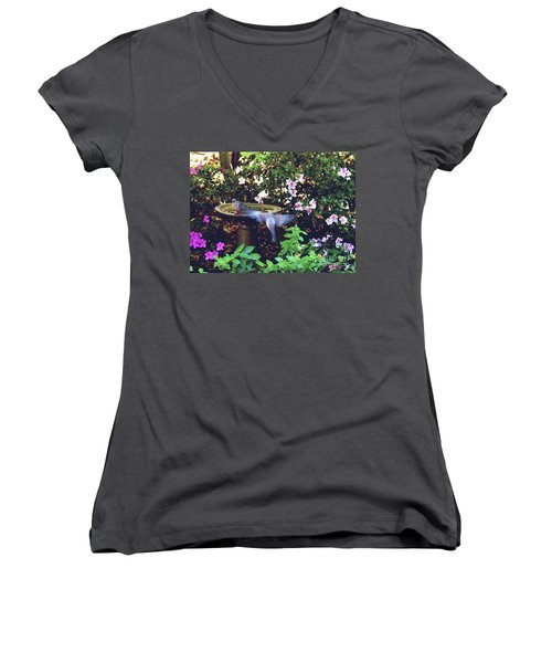 Women's V-Neck T-Shirt (Junior Cut) featuring the photograph Dove In Flight by Debra Crank