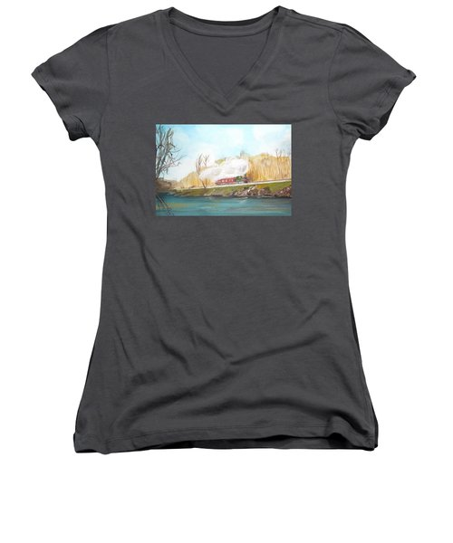 Down By The River Side Women's V-Neck T-Shirt (Junior Cut) by Carole Robins
