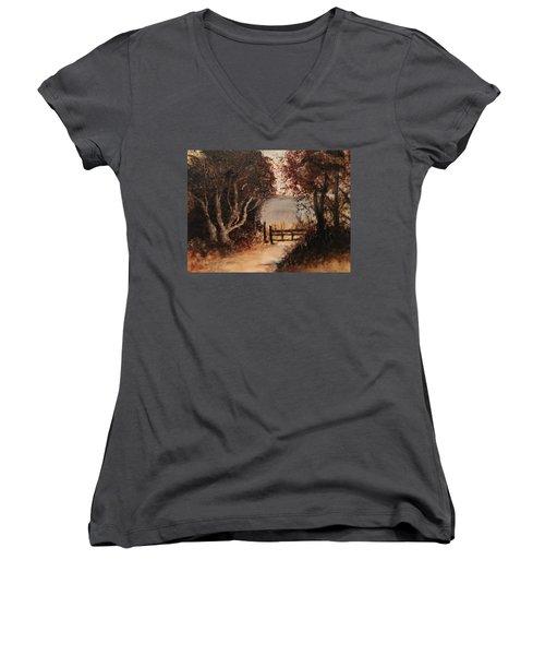 Down The Path Women's V-Neck T-Shirt (Junior Cut) by Sharon Schultz