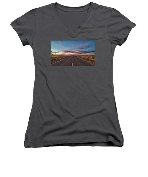 Women's V-Neck T-Shirt featuring the photograph Down The Road by Monte Stevens