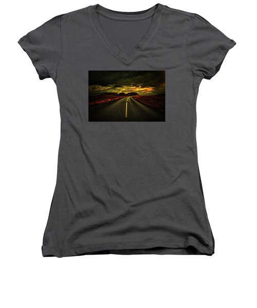 Women's V-Neck T-Shirt (Junior Cut) featuring the photograph Down The Road by Scott Mahon