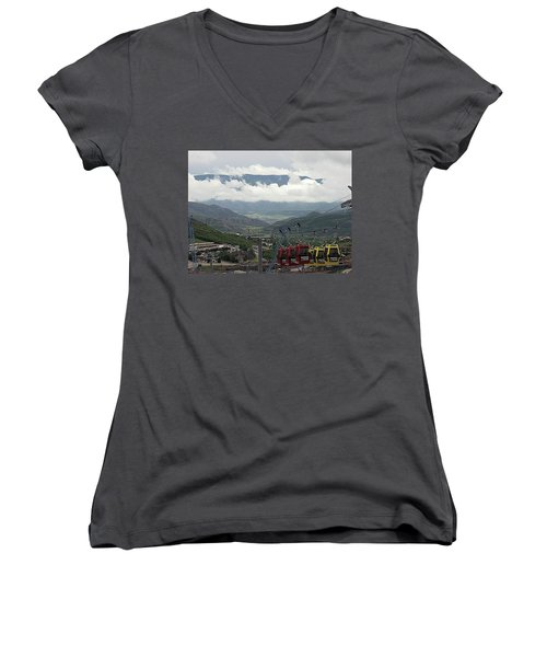 Down The Valley At Snowmass Women's V-Neck T-Shirt