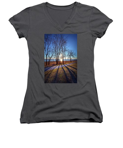 Women's V-Neck T-Shirt (Junior Cut) featuring the photograph Down This Way We Meander by Phil Koch
