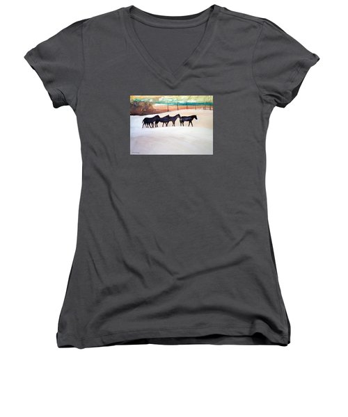 Downs Stables Women's V-Neck T-Shirt (Junior Cut) by Ed Heaton