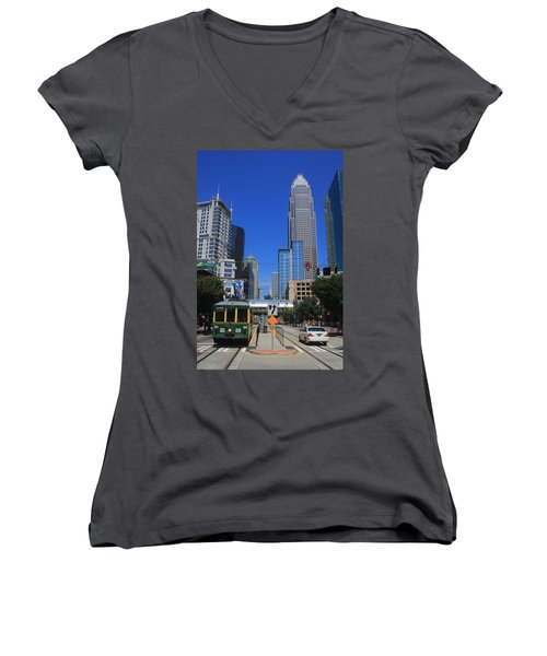 Downtown Charlotte Trolley 1  Women's V-Neck T-Shirt