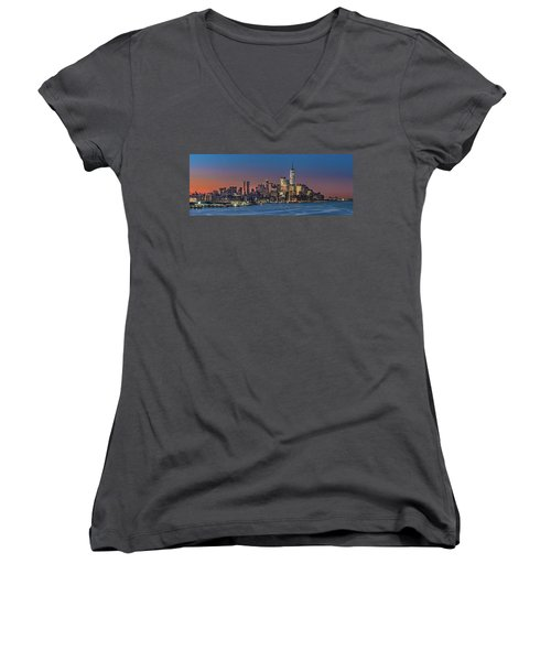 Downtown And Freedom Tower Women's V-Neck