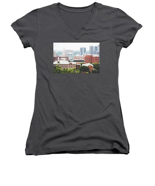 Women's V-Neck T-Shirt (Junior Cut) featuring the photograph Downtown Birmingham - The Magic City by Shelby Young