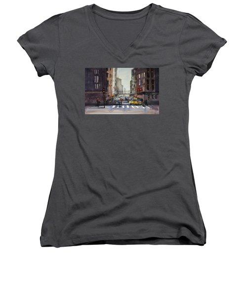 Downtown Chicago Women's V-Neck T-Shirt (Junior Cut) by Ryan Radke