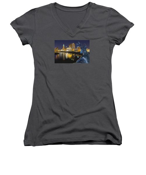 Downtown Deer View Columbus Women's V-Neck T-Shirt (Junior Cut) by Alan Raasch