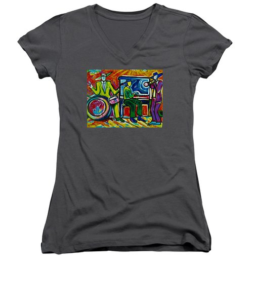 Downtown Women's V-Neck T-Shirt (Junior Cut) by Emery Franklin