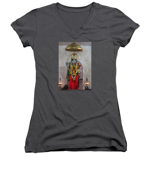 Downtown Ganeshpuri Durga Temple Women's V-Neck T-Shirt (Junior Cut) by Jennifer Mazzucco