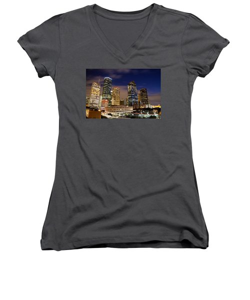 Downtown Houston At Night Women's V-Neck (Athletic Fit)