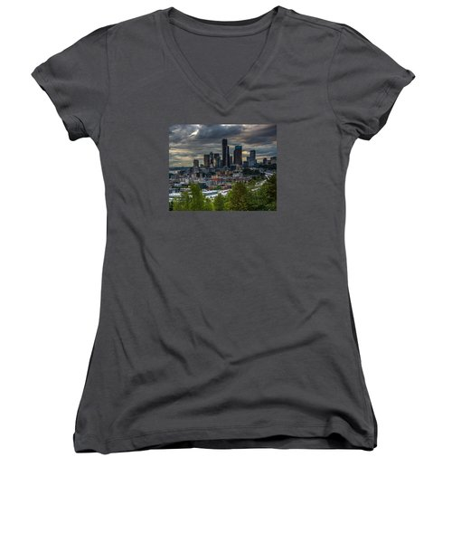 Downtown Women's V-Neck T-Shirt (Junior Cut) by Jerry Cahill