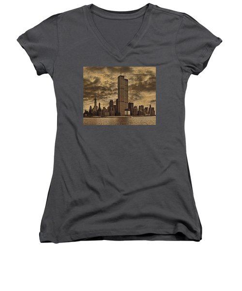 Downtown Manhattan Circa Nineteen Seventy Nine  Women's V-Neck