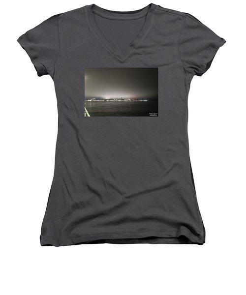 Downtown Oc Skyline Women's V-Neck T-Shirt (Junior Cut) by Robert Banach