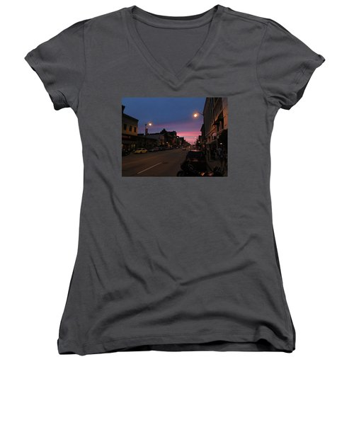 Women's V-Neck T-Shirt featuring the photograph Downtown Racine At Dusk by Mark Czerniec