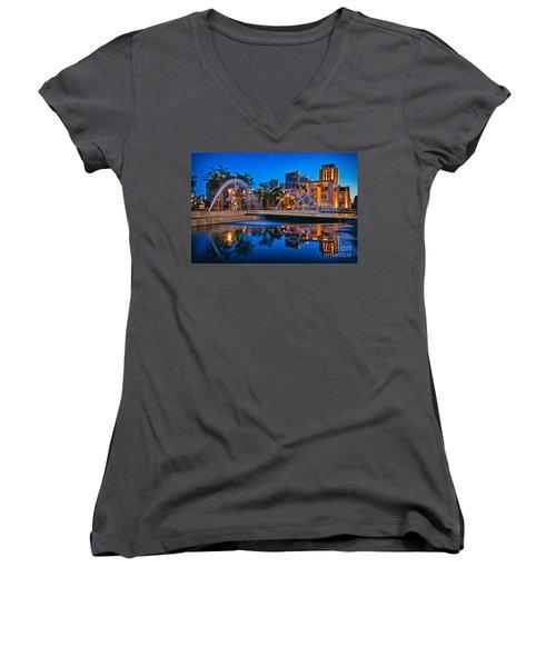 Downtown San Diego Waterfront Park Women's V-Neck T-Shirt (Junior Cut) by Sam Antonio Photography