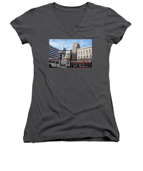 Downtown San Francisco - Market Street Buses Women's V-Neck T-Shirt (Junior Cut) by Matt Harang