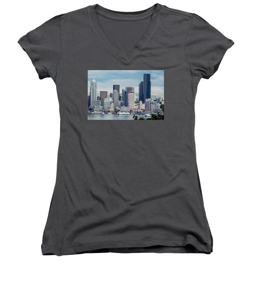 Downtown Seattle And Ferries Women's V-Neck