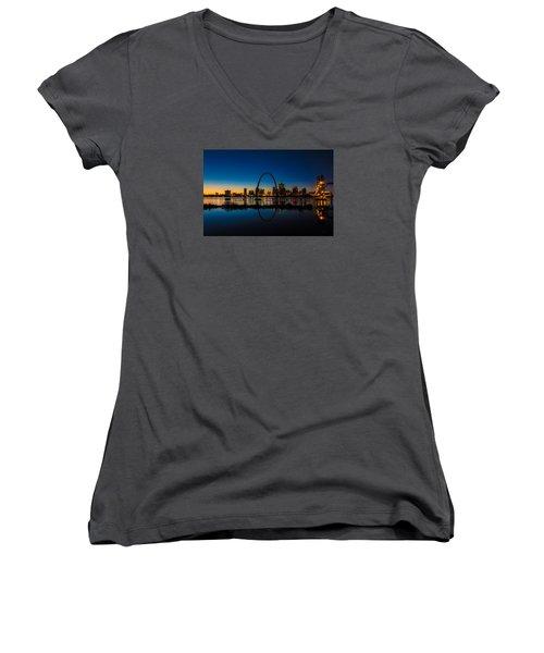 Downtown St. Louis And The Gateway Arch Women's V-Neck T-Shirt (Junior Cut) by Matthew Chapman