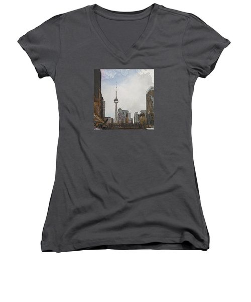 Downtown Toronto In Color Women's V-Neck (Athletic Fit)