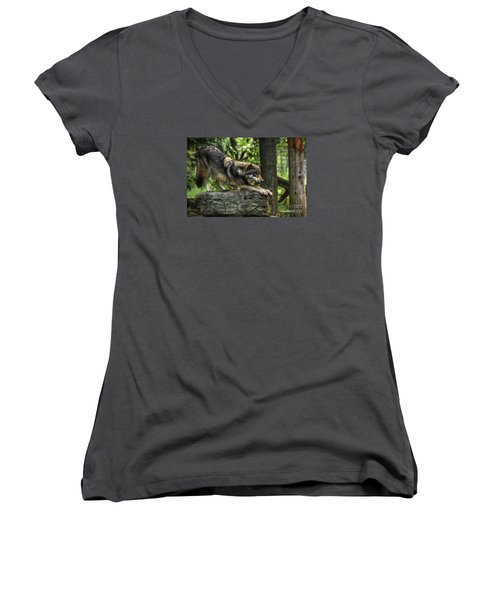 Downward Facing Wolf Women's V-Neck (Athletic Fit)