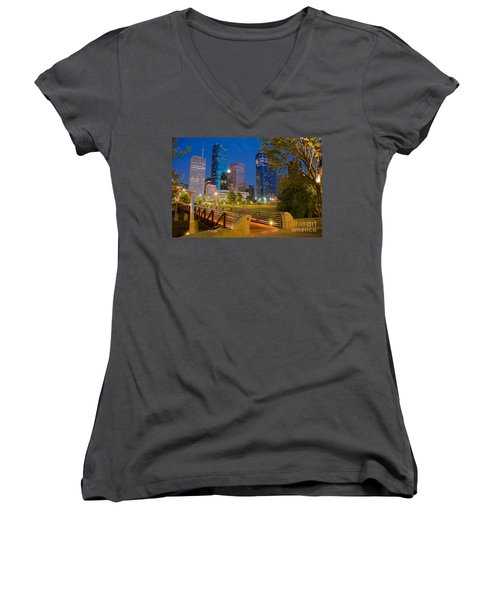 Dowtown Houston By Night Women's V-Neck (Athletic Fit)