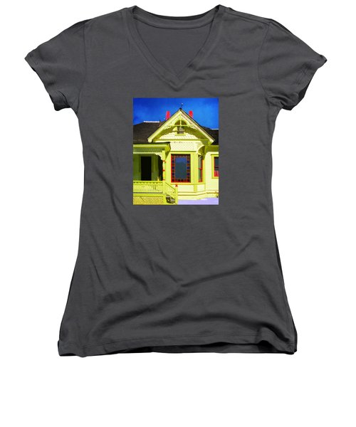 Women's V-Neck T-Shirt (Junior Cut) featuring the photograph Dr. Clark's House 2 by Timothy Bulone