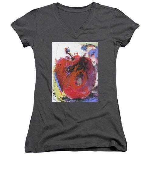 Women's V-Neck T-Shirt (Junior Cut) featuring the painting Dr. Repellent by Robert Joyner