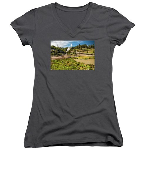 Dragon Geyser At Yellowstone Women's V-Neck T-Shirt (Junior Cut) by Hyuntae Kim