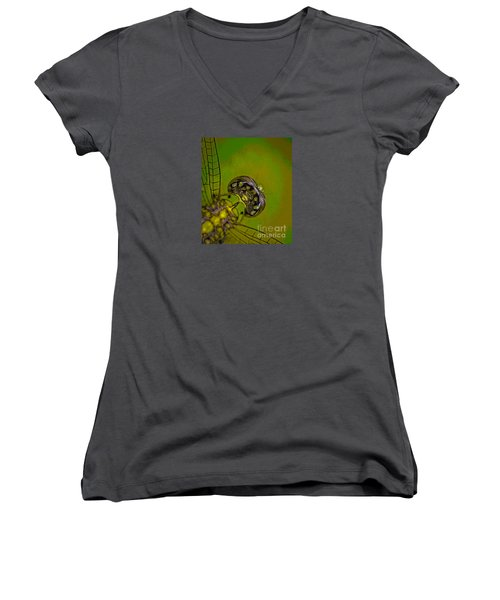 Dragonfly Detail Women's V-Neck T-Shirt (Junior Cut) by Kim Henderson