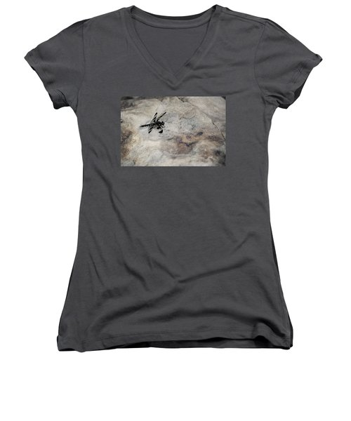 Dragonfly On Solid Ground Women's V-Neck (Athletic Fit)