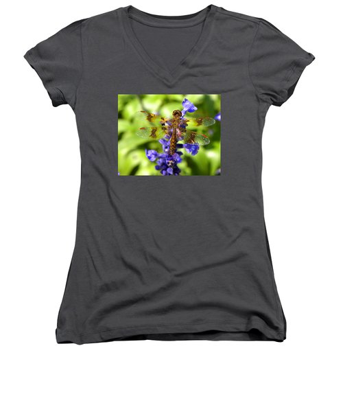 Women's V-Neck T-Shirt (Junior Cut) featuring the photograph Dragonfly by Sandi OReilly