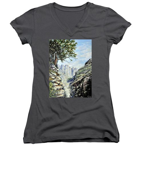 Women's V-Neck T-Shirt (Junior Cut) featuring the painting Drakensberg by Heidi Kriel