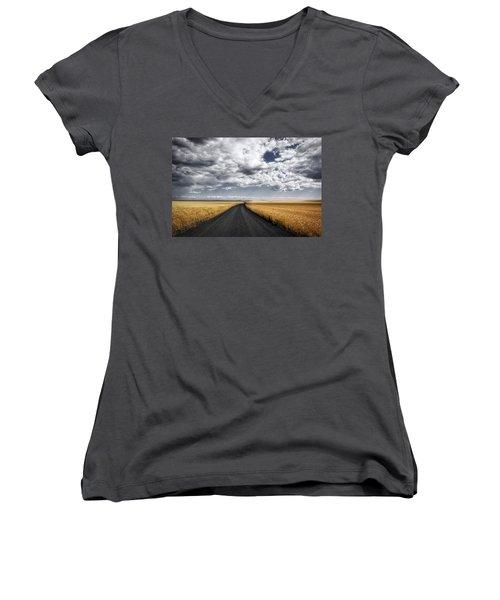Drama On The Horse Heaven Hill Women's V-Neck T-Shirt (Junior Cut) by Lynn Hopwood