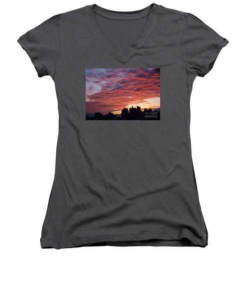 Women's V-Neck T-Shirt (Junior Cut) featuring the photograph Dramatic City Sunrise by Yali Shi
