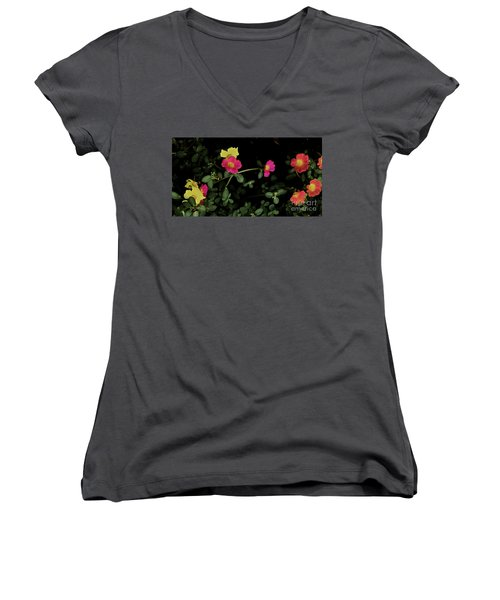 Dramatic Colorful Flowers Women's V-Neck